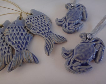 Blue Ceramic Crab Ornament