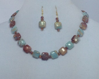 Turquoise Beige Brown Gemstone Necklace Earring Set