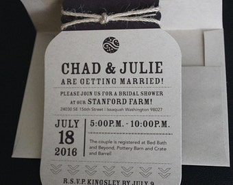 Mason Jar Invitation | Diecut Mason Jar Invitation | Rustic Invitation | Bridal Shower Invitation