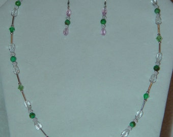 Sea Green Necklace and Earrings Set