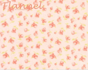 Moda Sweet Baby Flannel, 35283 14F Blossom, Abi Hall, Peach Floral Flannel, Baby Quilt Fabric, Peach Flannel, Cotton Flannel Fabric