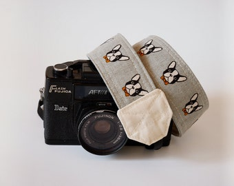 Camera strap, SLR DSLR camera strap, gray camera strap, gift for him, Nikon camera strap, Boston terrier Gray