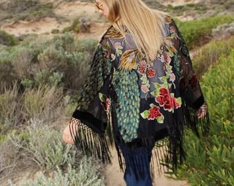 Bohemian Girlfriend Gift - Bridesmaid Silk Kimono Robes - Silk Kimono For Gift - Velvet Kimono Jacket - Brides Silk Kimono Robe
