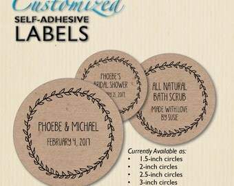 Custom Wedding Labels, Brown Kraft, Envelope Seals, Favor Sticker, Product Labels, Bridal Shower, Candy Buffet, Jar Label, Personalized