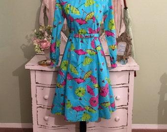 60s Colorful Umbrella Dress, 1960s Asian Print Dress, Vintage 60s Dress, Modest Princess Dress, Turquoise Pink Green, Dress w Pockets, Sz M