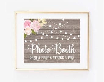 Printed Wedding Photo Booth Sign, Rustic Photo Booth Sign, Photo Booth Sign, Rustic Wedding Sign, Wedding Sign, Reception Sign #CL138
