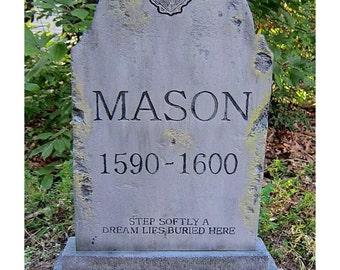 Mason Halloween Tombstone Cemetery Prop Graveyard Decoration