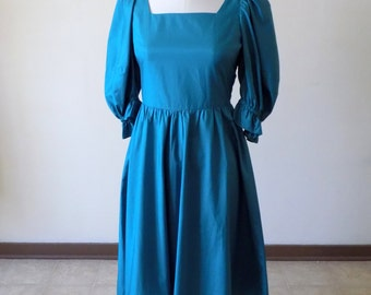 80s Country Dress, Vintage Handmade, Teal, Blue, Country, Puff Sleeves, Size 9, 1980s, Bridemaid, Special Occasion, Womens Vintage