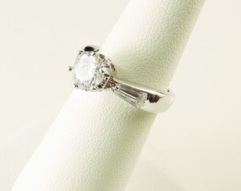 Size 6 Sterling Silver And 1.5ct. Round Rhinestone Ring With Tapered Baguettes