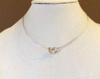 "Sterling Silver Heart Slide Choker Necklace 16"""