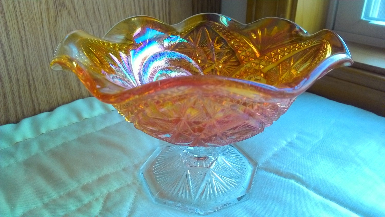 Vintage FENTON DISH BOWL Carnival Glass Iridescent Amber Gold