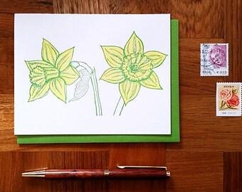Daffodils, Letterpress Note Card, Blank Inside