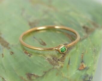 Tiny CZ Emerald Ring, Soild 14k Rose Gold Emerald Stacking Ring, Green Emerald Ring, Emerald Mothers Ring, May Birthstone, Emerald Ring