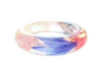 MultiColor Cornflower Smooth Resin Ring - Resin with Dried Flowers- Pink Blue White Purple- Botanical Jewelry - ValenwoodVixen
