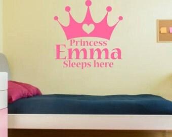 Vinyl wall art. Personalized princess name. Custom vinyl wall decor. Custom wall art for girls room. Personalized princess tiara for girls