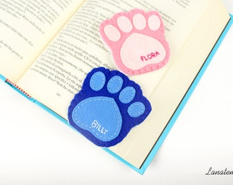 Dog paw felt corner bookmark with dog's name, custom bookmark, love dogs
