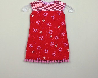 """Size 2-  Fully Reversible - """"Alexandra Dress"""" - Red Party Dress with Cascading Hearts on reverse  - Pom pom trim for extra fun"""
