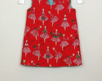 """Size 3  Fully Reversible  """"Cassie Dress"""" -  Holiday Hostess and retro blue cherries on reverse"""