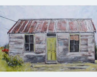 Original character house art, painting on canvas, old house, rust, Tin Roof Rusted wall art, rustic cottage painting, 20x30, free shipping