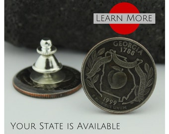 Georgia Lapel Pin - A unique handmade lapel pin using the Georgia State Quarter.  A perfect tie tack, lapel or hat pin