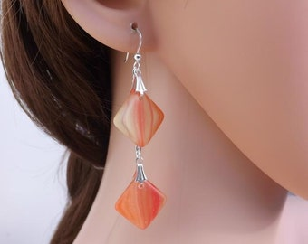 Orange and yellow striped Czech glass drop earrings with chain and sterling silver ear wires