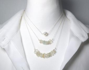 Raw crystal necklace, Boho layer necklace, Ivory Necklace, Natural Beaded Necklace, White boho necklace