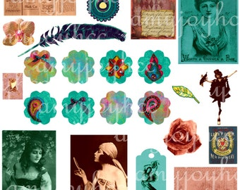 GYPSY Boho Clipart Digital Collage Sheet  bohemian  Kit  Elements Teal Ephemera - Tarot Vintage Photos Feathers- Journal Tags  bohemian