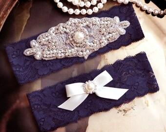 Wedding Garters, Blue Lace Garter Set, Blue Wedding Garter Set,  Lace Garter Wedding, Bridal Garter Set, Something Blue Wedding Garter