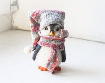 Needle felted Penguin, Christmas ornaments, Christmas Gift
