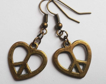 Peace Heart Earrings , Bronze Earrings , Bronze Peace Earrings , Bronze Peace Earrings , CND Earrings , Ban The Bomb , Hippie Jewelry , Gift