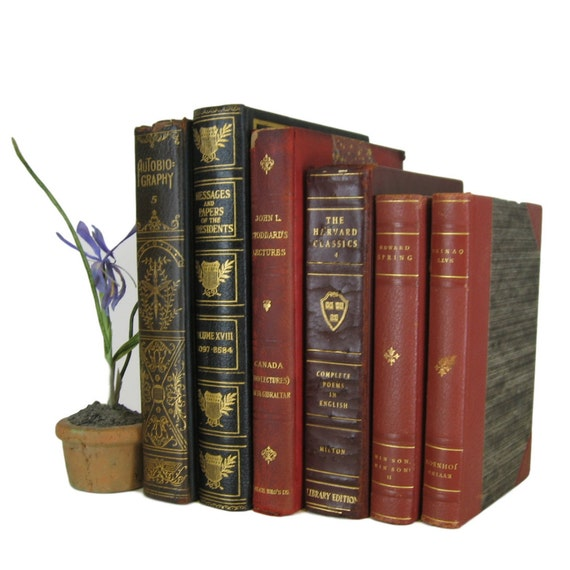 Leather Decorative books Old Books for by aBookByTheCover ...