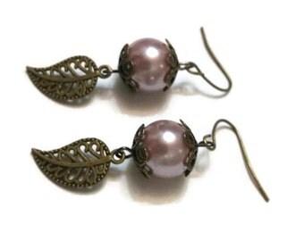 Leaf Dangle Earrings - Leaf Earrings - Pearl Dangle Earrings - Dangle Earrings Pearl - Pearl Earrings - Vintage Dangle Earrings