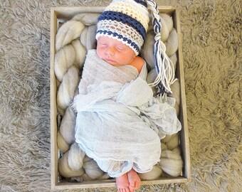 Tassel Hat, Newborn Photo Prop, Baby Boy Crochet Hat