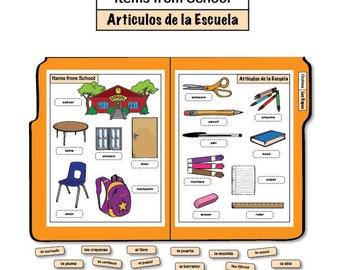 Learning Spanish File Folder Game - Items from School/Articulos de la Escuela