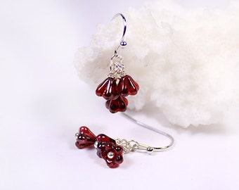 dark red earrings victorian jewelry bohemian earrings ruby red romantic earrings gifts friend birthday gift coworker crimson jewelry пя68