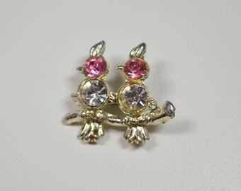 Vintage Bird Pin Brooch Miniture Pin Brooch Rhinestone Figural Pin Brooch Pink Clear Rhinestone Pin Bird Brooch Miniture Brooch