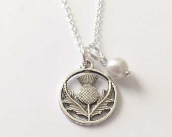 Silver Thistle Necklace/Antique Silver Necklace/Thistle and Pearl Necklace/Outlander Thistle Necklace