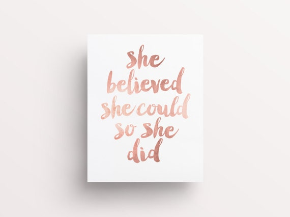Inspirational Print She Believed She Could So She