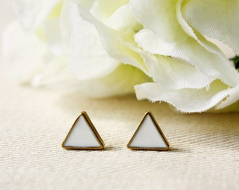 Modern // earring / black / Triangle Stud Earring, Cool Earring, Gold Stud Earring, Simple Gold Earring, White Mini Stud, gift for her
