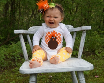 Baby Girl Thanksgiving Outfit- 3 piece onesie leg warmers and over the top bow - baby girl first thanksgiving - thanksgiving legwarmers