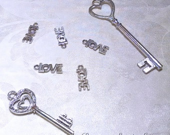 Charms - Silver Charms - 12 Small Charms - Cute Charms For Jewelry Making - Jewelry Supply - Love Charms for Jewelry - Diy Jewelry - CH-S017