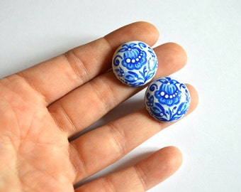 Blue Stud Earrings Paint jewelry Handmade wedding earrings wood Boho earrings bridesmaids Gifts idea|for|her round earrings Art Gift|for|her