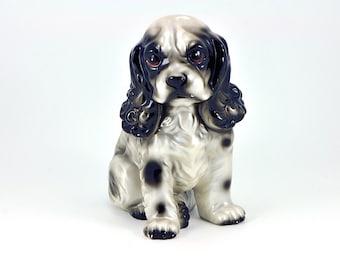 Vintage Ceramic Black and Grey Springer Spaniel Puppy Figurine / Ceramic Puppy Dog / Ceramic Spaniel / Springer Spaniel Puppy