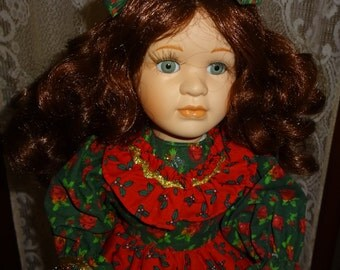 Christmas Doll 17 1/2 inch Porcelain with Metal Stand