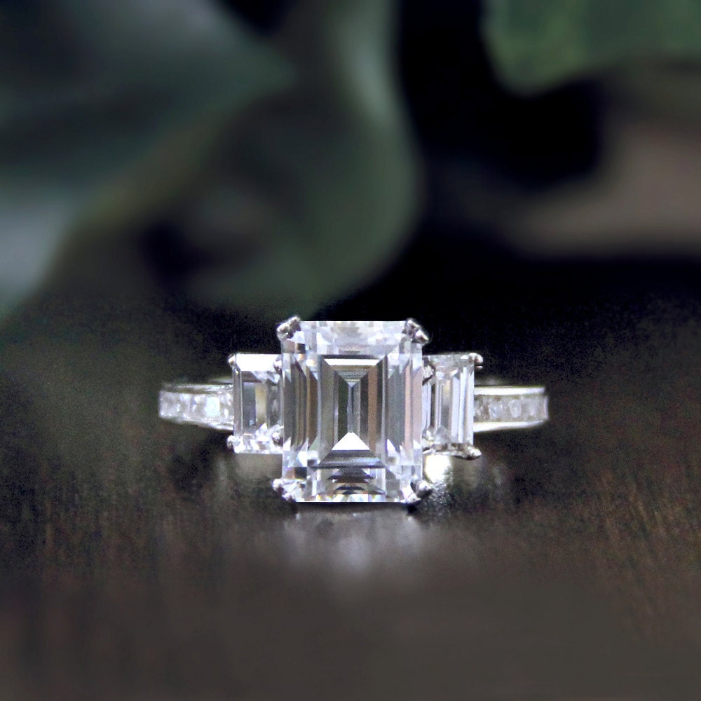 3 36 ct tw engagement ring emerald cut by besbelle