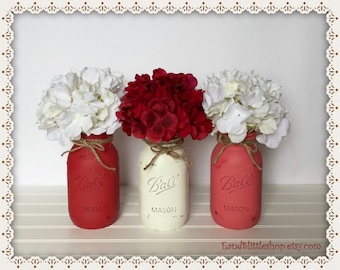 Mason Jar Table Centerpiece set-Valentines Day Decor-Valentine Décor-Wedding Centerpieces-Farmhouse Decor-Red Mason Jars-White-Rustic Decor