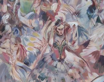 Costume Ball Masquerade Festival Maidens Original Painting Dance Degas Ballerinas Baroque Antique Painting Impressionst Pastel Colors Ballet