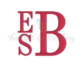 Stacked Machine Embroidery Monogram Font In 5 Sizes, 0030