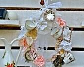 Door Wreath, Door Hanger, Door Decoration, Vintage Tea Cup Wreath, Shabby Wall Decor, Bone China, Tea Party, Country chic, Wall hanging