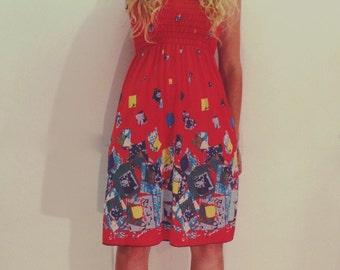 60's sun dress / vintage sun dress / summer dress / scrunch top dress / scrunchy top